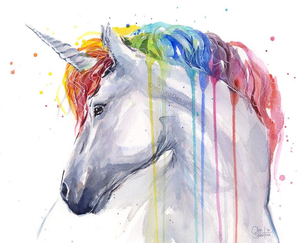 Colorful Animal Print Wallpaper Unicorn Rainbow Watercolor Art Print Unicorn Print Baby Girl