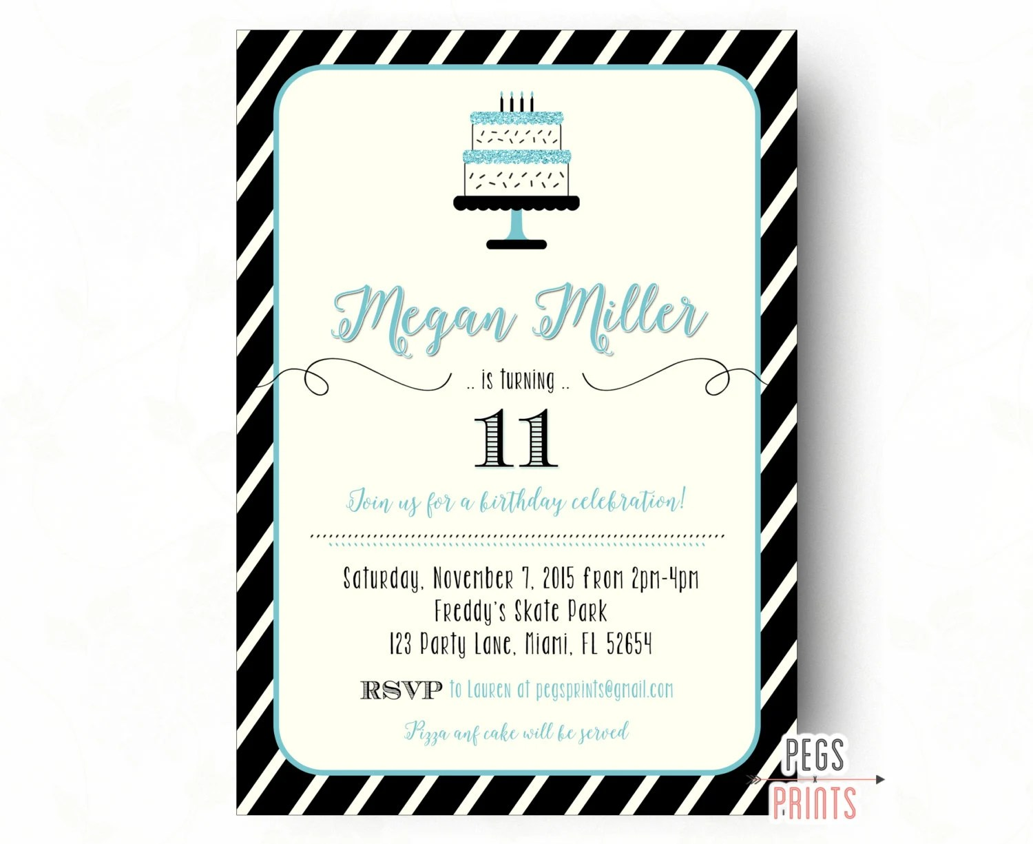 Tween Birthday Invitations Teen Birthday Invitation