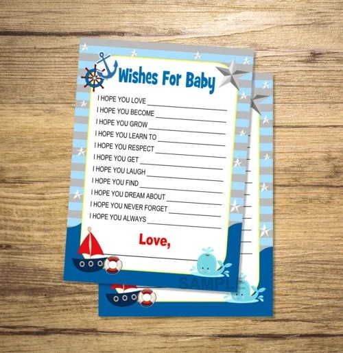 Printable Nautical Wishes for Baby, Boy Baby Shower Game, Printable
