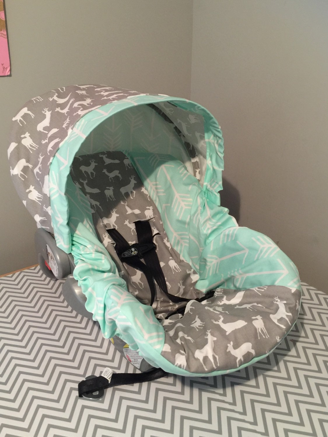 Infant Car Seat Covers Girl Tribal Arrows Deer Gray Mint Fabric Infant Car Seat Cover