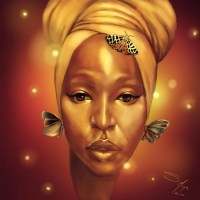 African American Fantasy Wall Art Natural Black Woman in