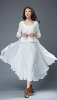 White Linen Dress Layered Flowing Elegant Long Sleeve Long