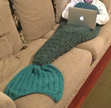Mermaid tail blanket, Mermaid Cocoon, Mermaid afghan