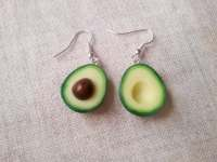 Solid Silver Avocado Earrings miniature food jewelry food