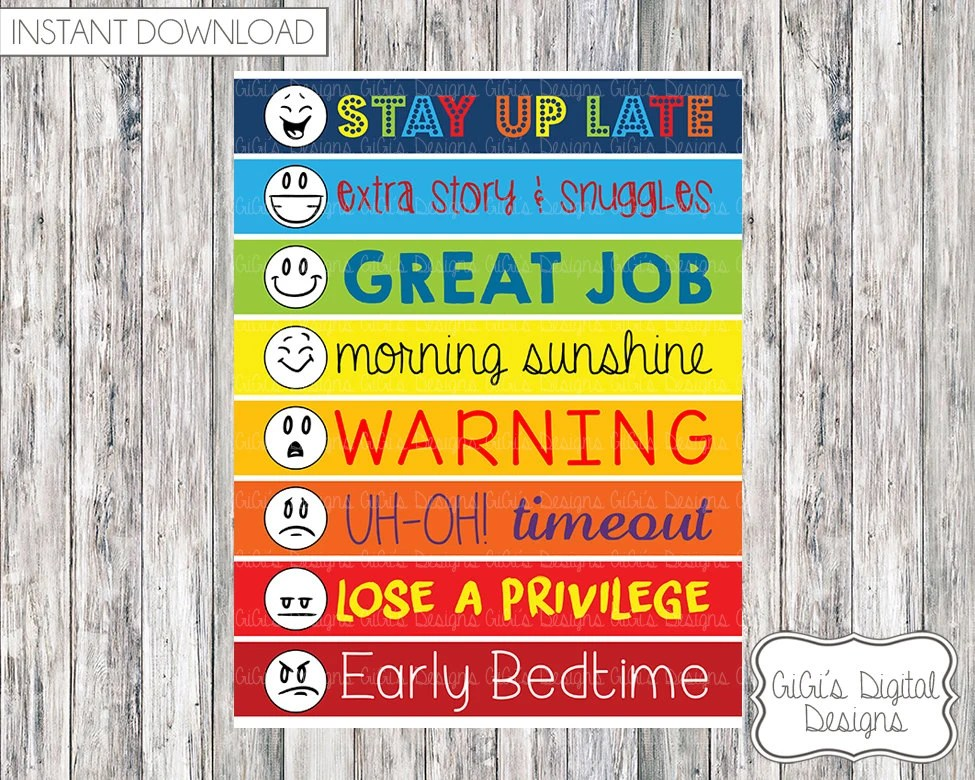 Digital Daily Behavior Chart for kids Instant Download - printable behavior chart