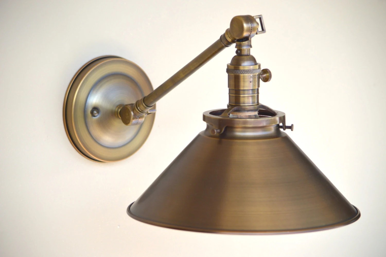 Adjustable Arm Wall Light Sconce Lighting With Spun Brass Shade Adjustable Arm Fixture