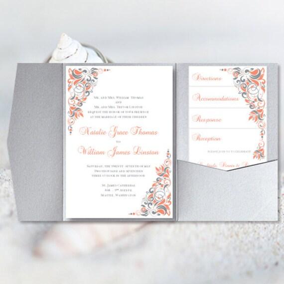 Pocket Fold Wedding Invitations Gianna Coral