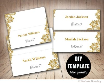 Gold Lace Wedding Place cards Template Foldover DIY Gold