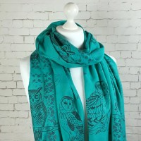 Teal green Pashmina shawl Owl scarf throw wrap stole green
