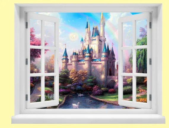 Create Own Name 3d Wallpaper Window With A View Disney Fairytale Castle Wall Mural