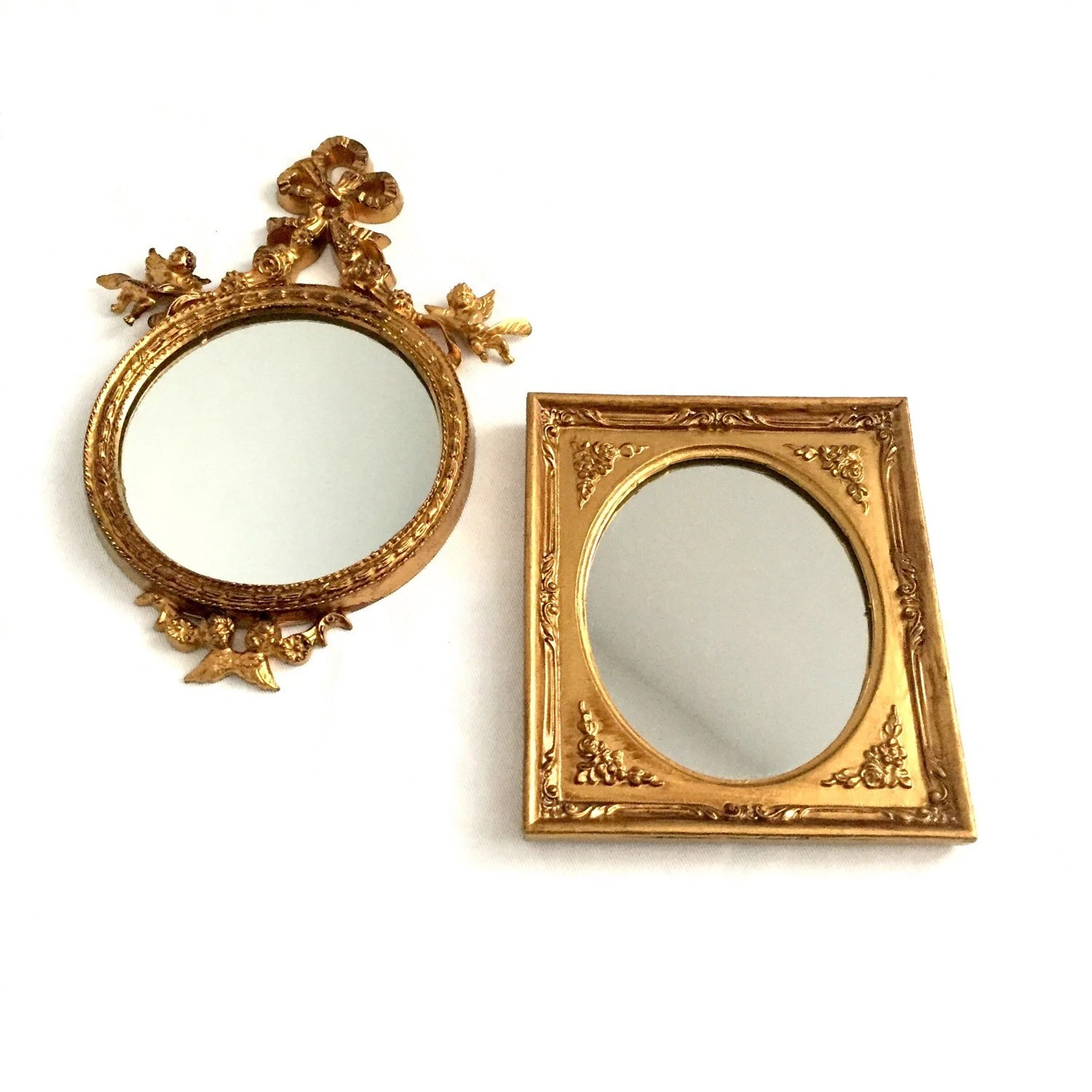 Small Gold Mirror Set Set Gold Gilt Small Mirrrors Round Mirror Hollywood Regency