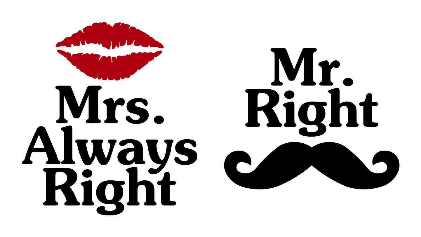 Mr Right Mrs Always Right Bettwäsche Coffee Mug Decal Set Mr Right Mrs Always By Sageandserendipity