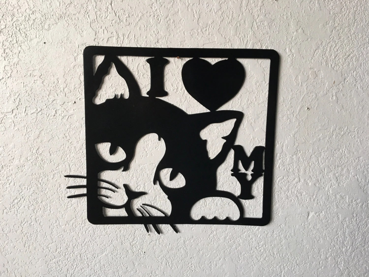 Cat Wall Art Metal I Love My Cat Metal Cat Sign Cat Kitty Wall Art Hanging