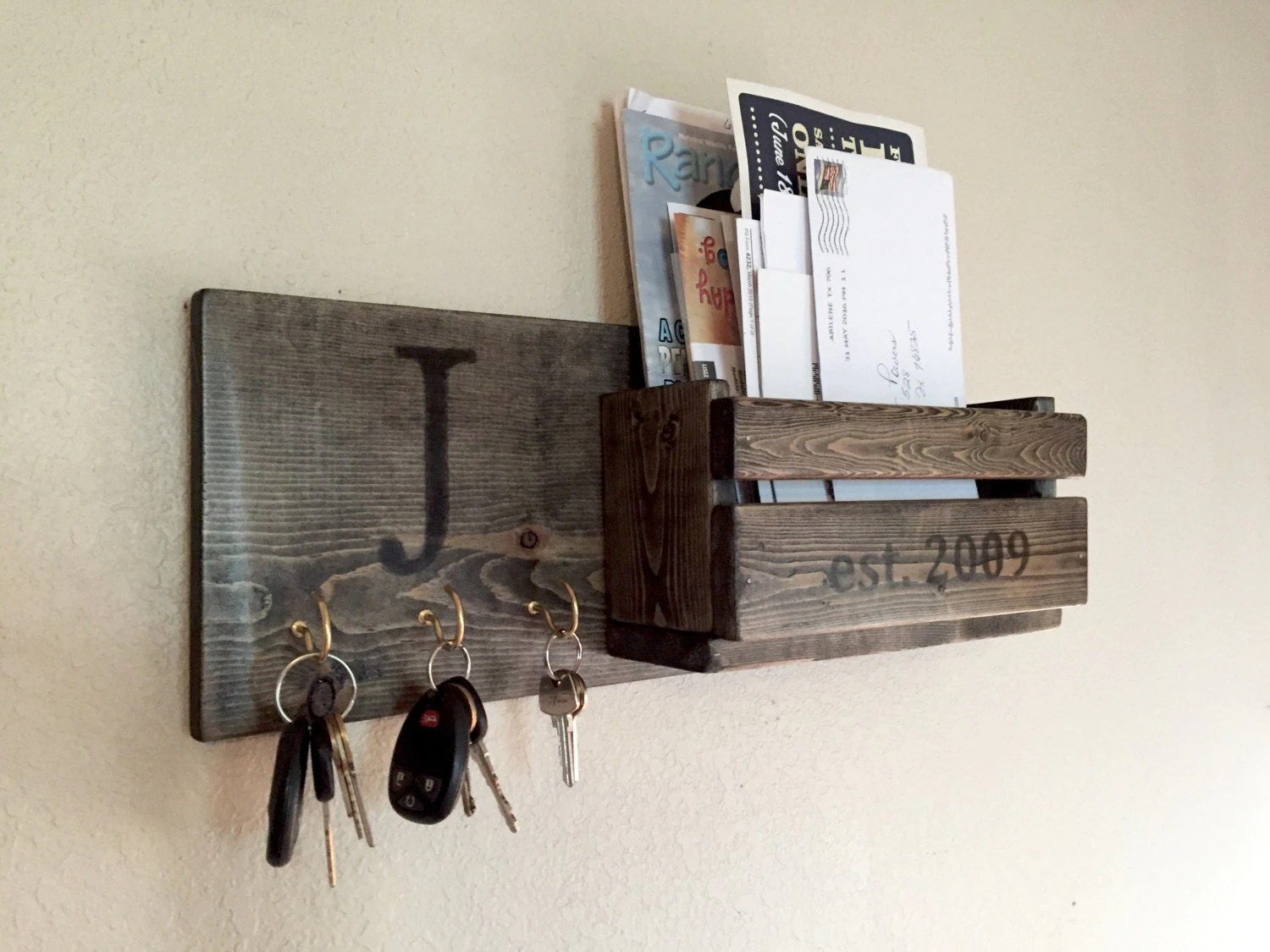 Hanging Mail And Key Organizer Rustic Monogram Mail And Key Holder In Ebony Letter And Key