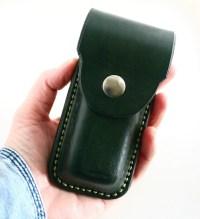 Leather Pocket Knife Holder. Green Leather pocket knife holder