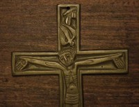Vintage bronze wall hanging religious art crucifix cross