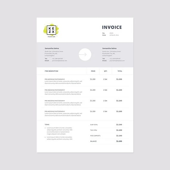 Clean and Modern Invoice Template Instant Download Receipt - ms custom invoice template