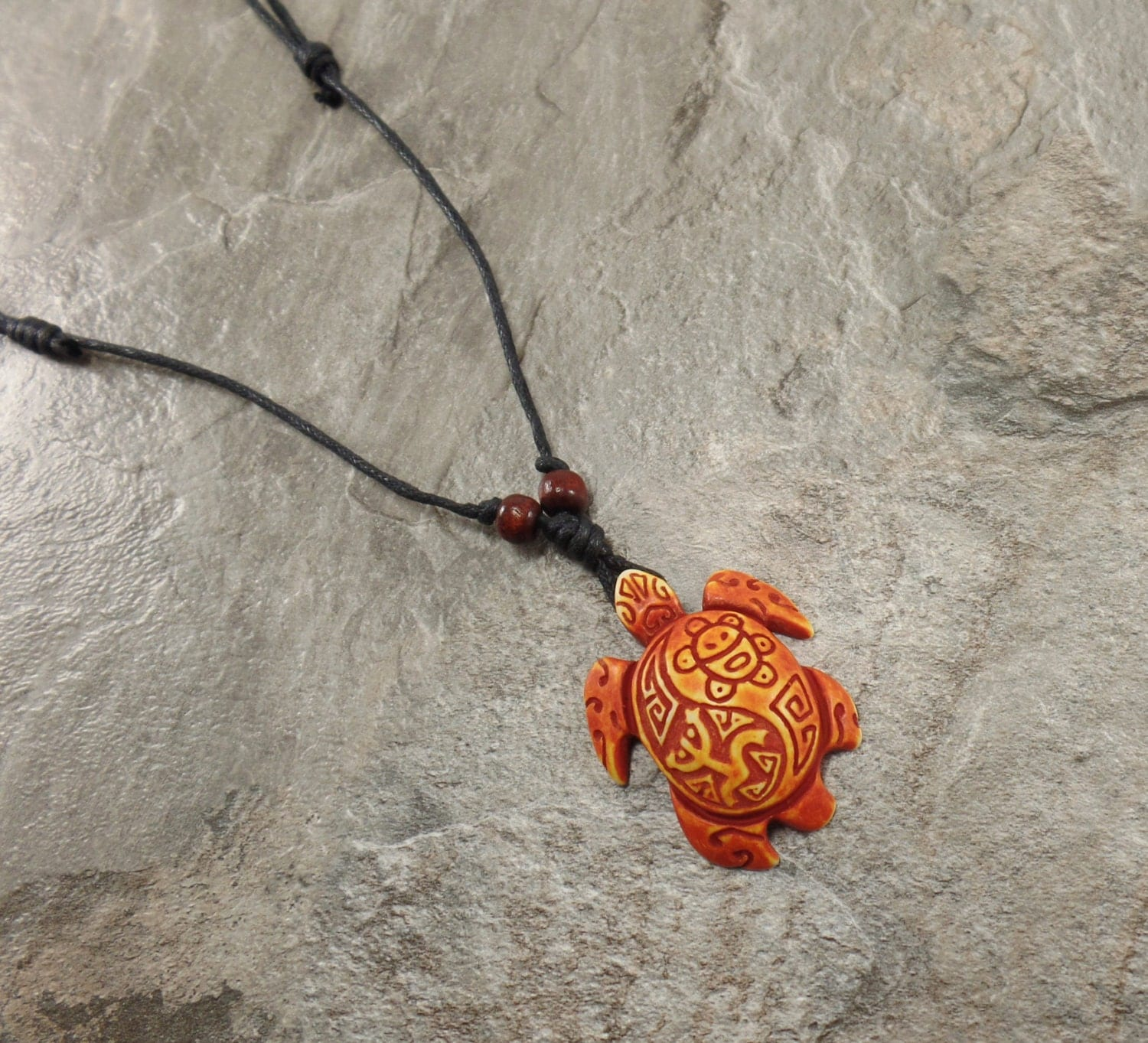 Orange Turtle Necklace Coqui Tribal Frog And Taino Sun