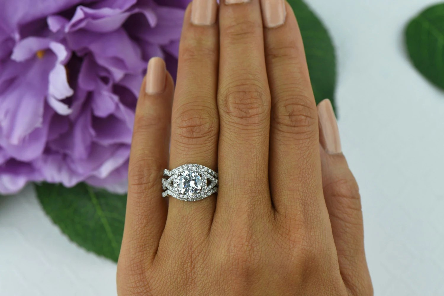 ctw twisted halo ring 3 band wedding 3 band wedding ring 3 Band Wedding Set Engagement Ring Wedding Ring zoom