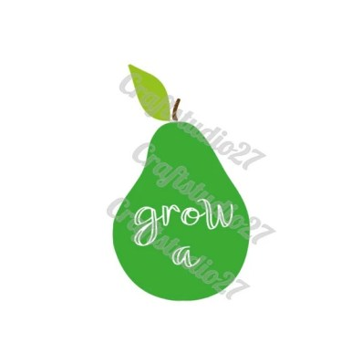 """Digitale file SVG """"Grow a pear"""" Peer met tekst snijbestand voor Silhouette Cameo, Cricut, Brother etc. Ook geschikt voor printen."""