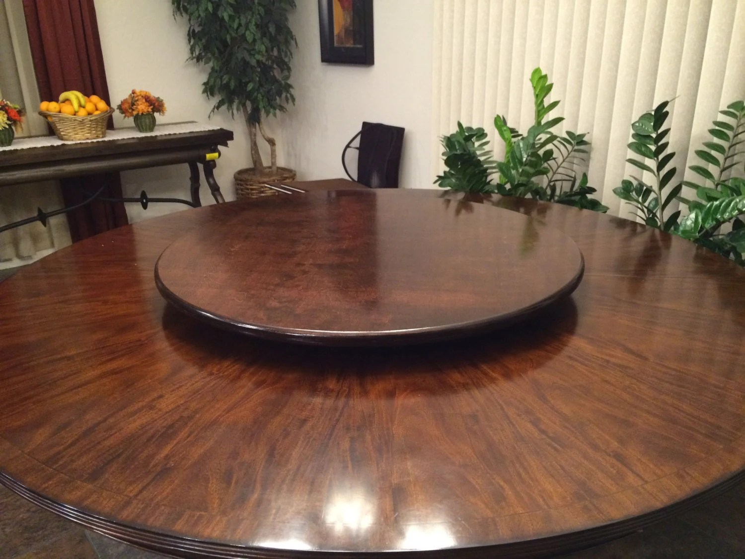 Lazy Susan Table Dark Wood Lazy Susan Table Centerpiece