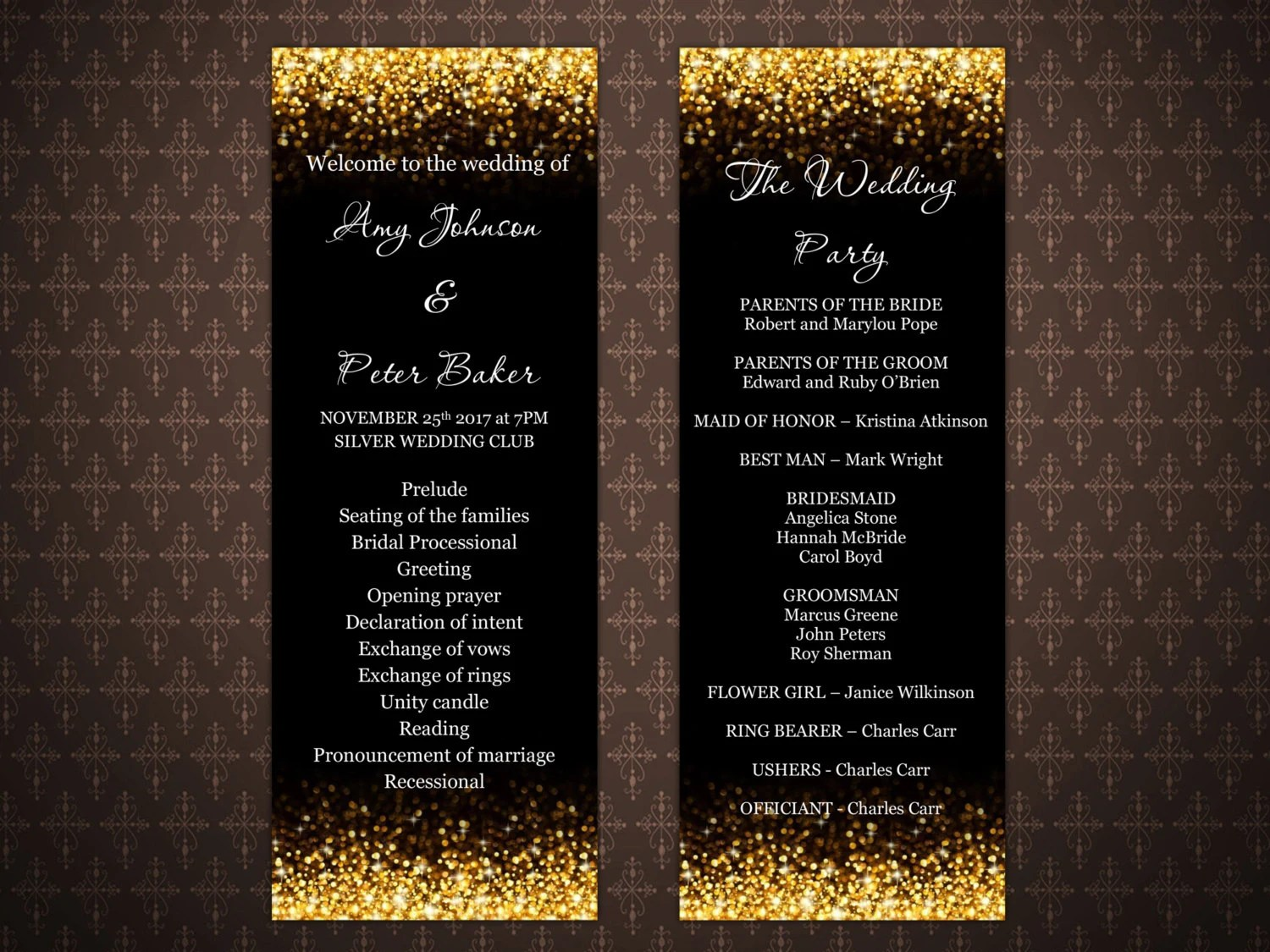 Invitation Letter Wedding Card Black And Gold Glitter Wedding Program Templates Gold Glitter