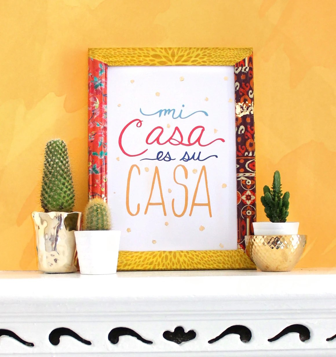 Mi Casa es su Casa art print with gold foil flecks. home