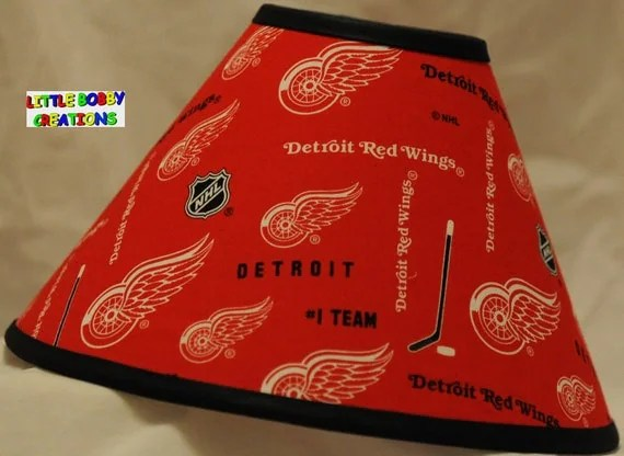 Detroit Red Wings NHL Hockey Fabric Lamp Shade All Handmade