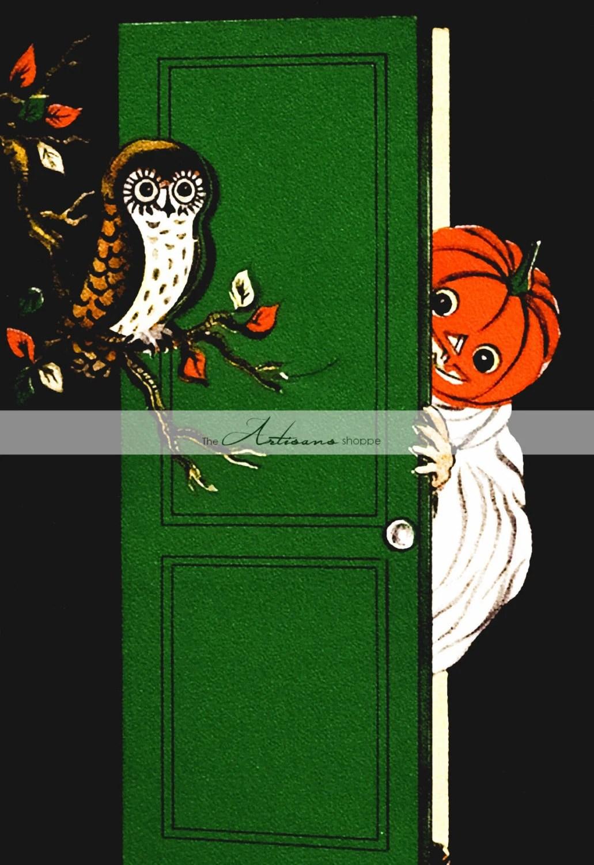 Printable Art Instant Download - Owl Pumpkin Ghost Door Halloween