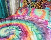 Tie Dye Duvet Set Hippie Bedding Rainbow by DrawforToffee