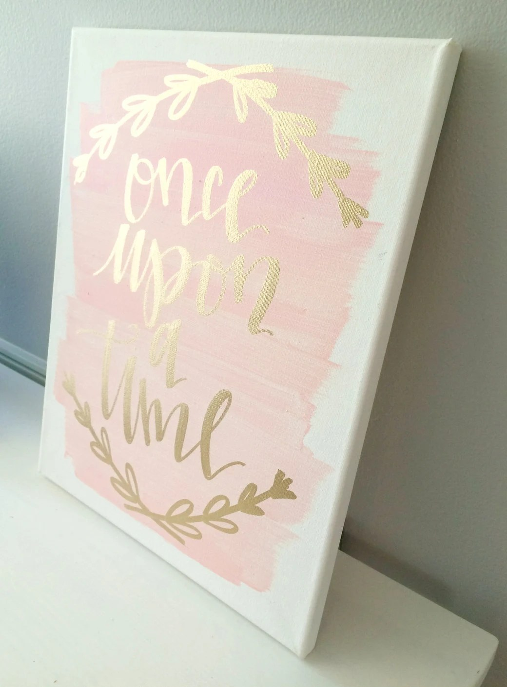 Pale Pink Wallpaper For Girl Nursery Once Upon A Time 11x14 Canvas Sign Wedding Decor Girls Room