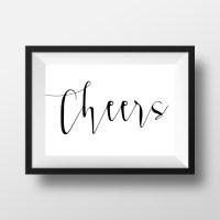 Cheers Wall Art Bar Wall Art Wedding Sign Champagne Print