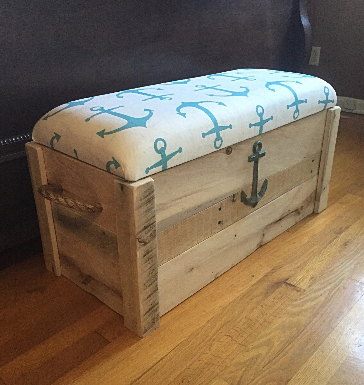 Toy Box Nautical Anchor Hope Chest Storage Bench