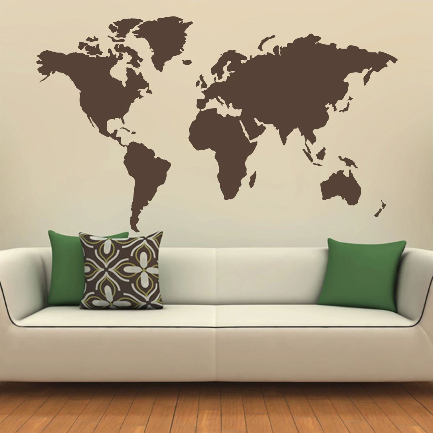 Map of the world silhouette wall decal globe wall decal wall map decal