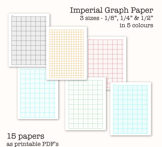 15 Imperial Measure Graph Papers - Digital Graph Paper, PDF