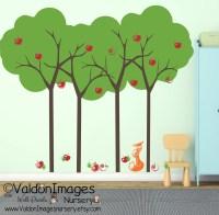 Summer apple tree and fox kids wall decal tree wall decal