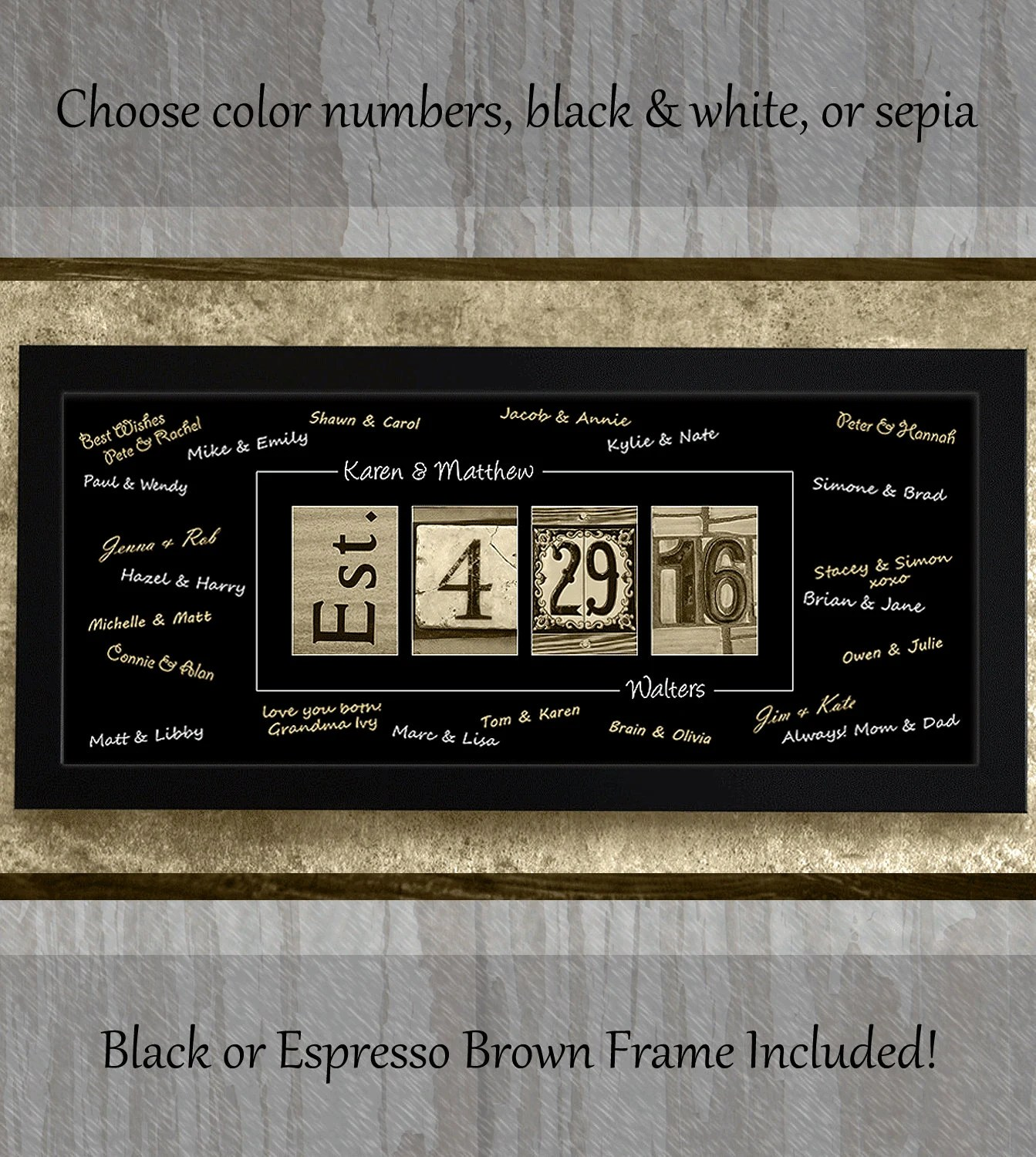AlphabetArtPhotos - Personalized, Framed, WEDDING GUEST BOOK
