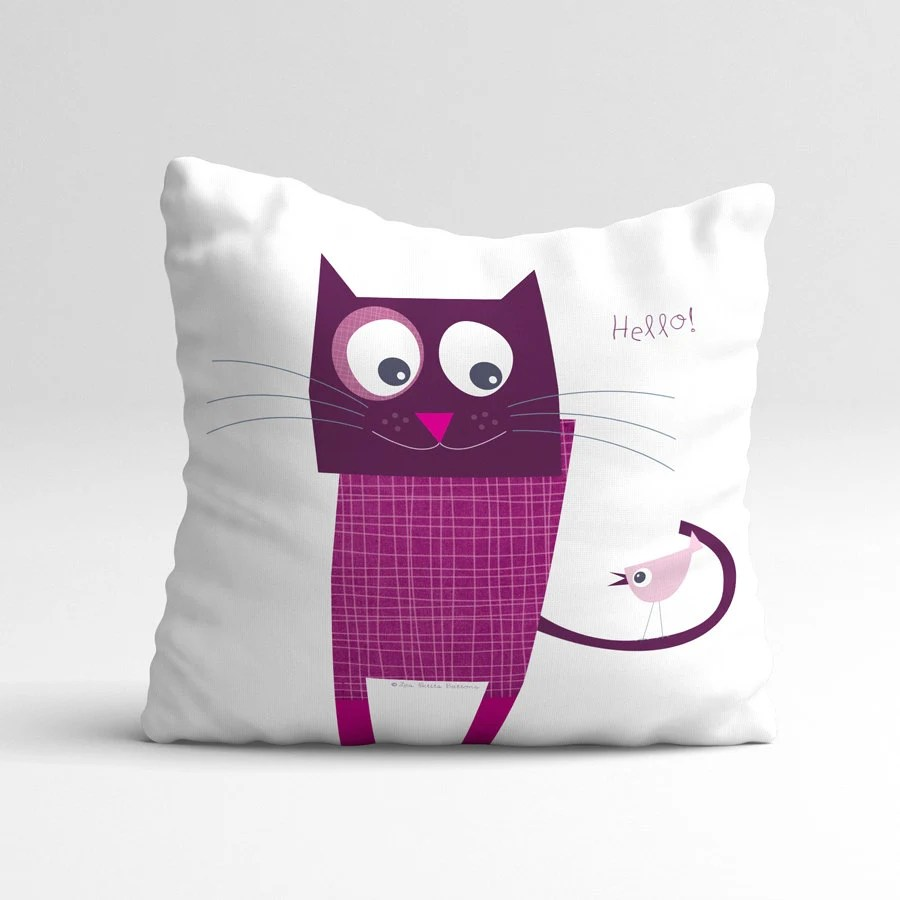 Fun Purple Cat Quote Pillow Cover Kids Throw Pillow Cushion