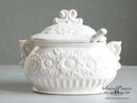 Vintage Gravy Bowl Soup Tureen with Ladle Covered Serving