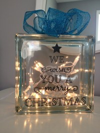 Holiday Christmas Lighted Glass Block With Christmas Message