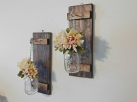 Hanging Mason Jar Wall Sconce Flower Vase Candle Sconce Wall