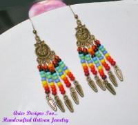 Rainbow Colored Boho Brass Chandelier Earrings by ...