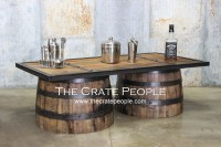 Repurposed Up-cycled Whiskey Barrel COFFEE Table 100 yr