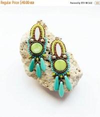 Bead embroidery earrings. Flashy dangle by Soutachebypanka ...