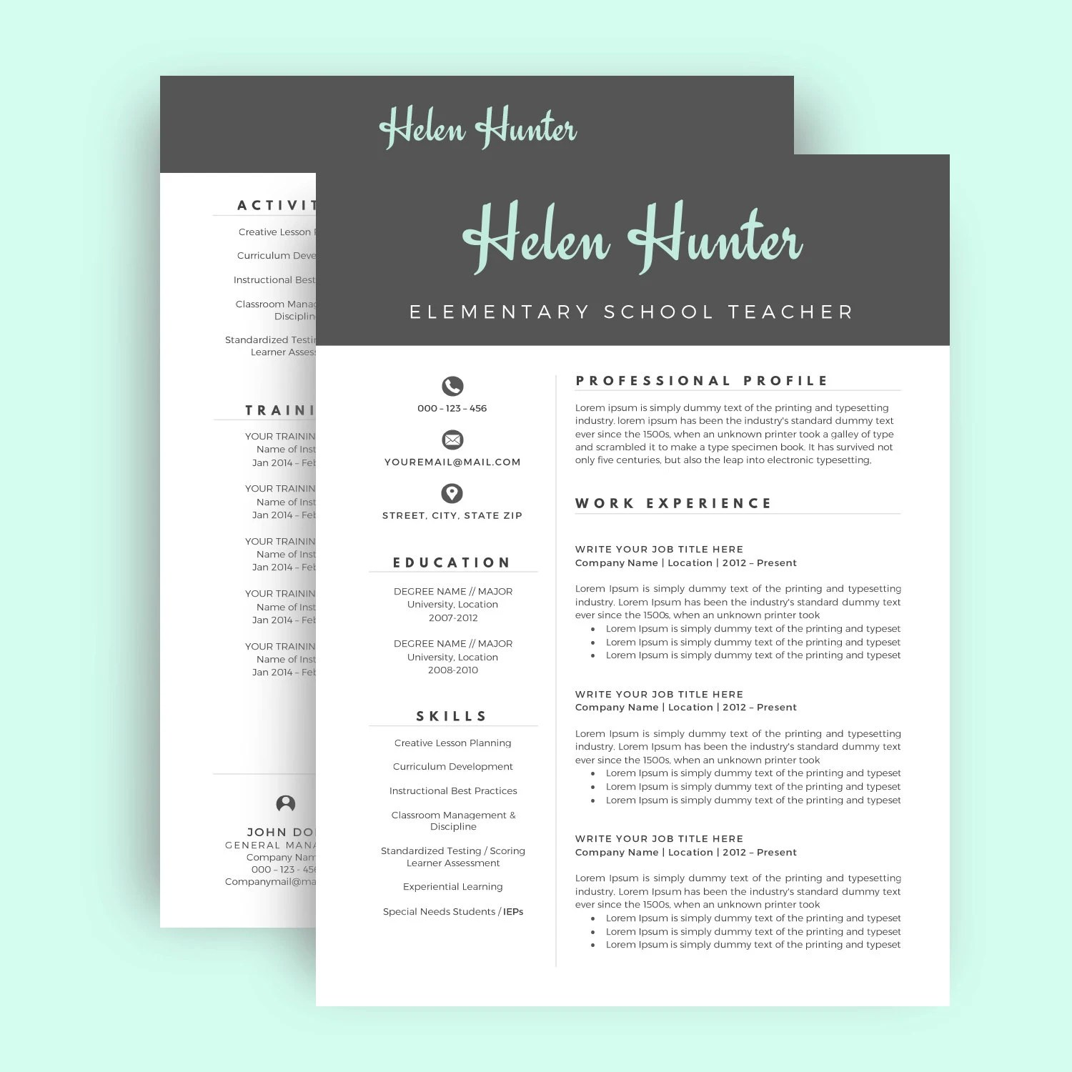 Resume Template \/ CV Template for Word Two Page Resume Cover - 2 page resume template