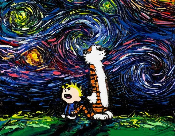 Imaginary Wallpapers Hd Calvin And Hobbes Art Starry Night Print What If Van Gogh