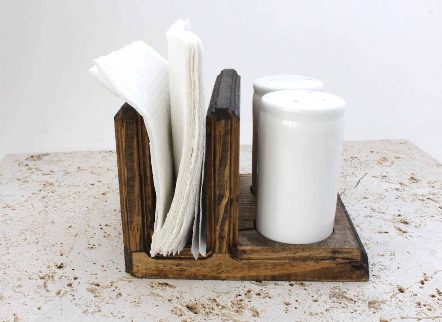 Salt Pepper Holder Wood Salt And Pepper Caddy Wood Napkin Holder By