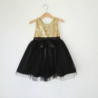 Gold and Black flower girl's dress gold sequined and
