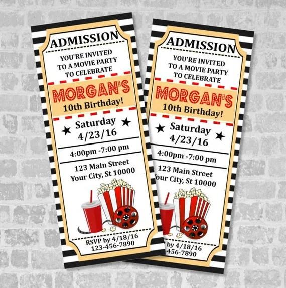 Movie Ticket Birthday Party Invitation, Custom Vintage Style Movie