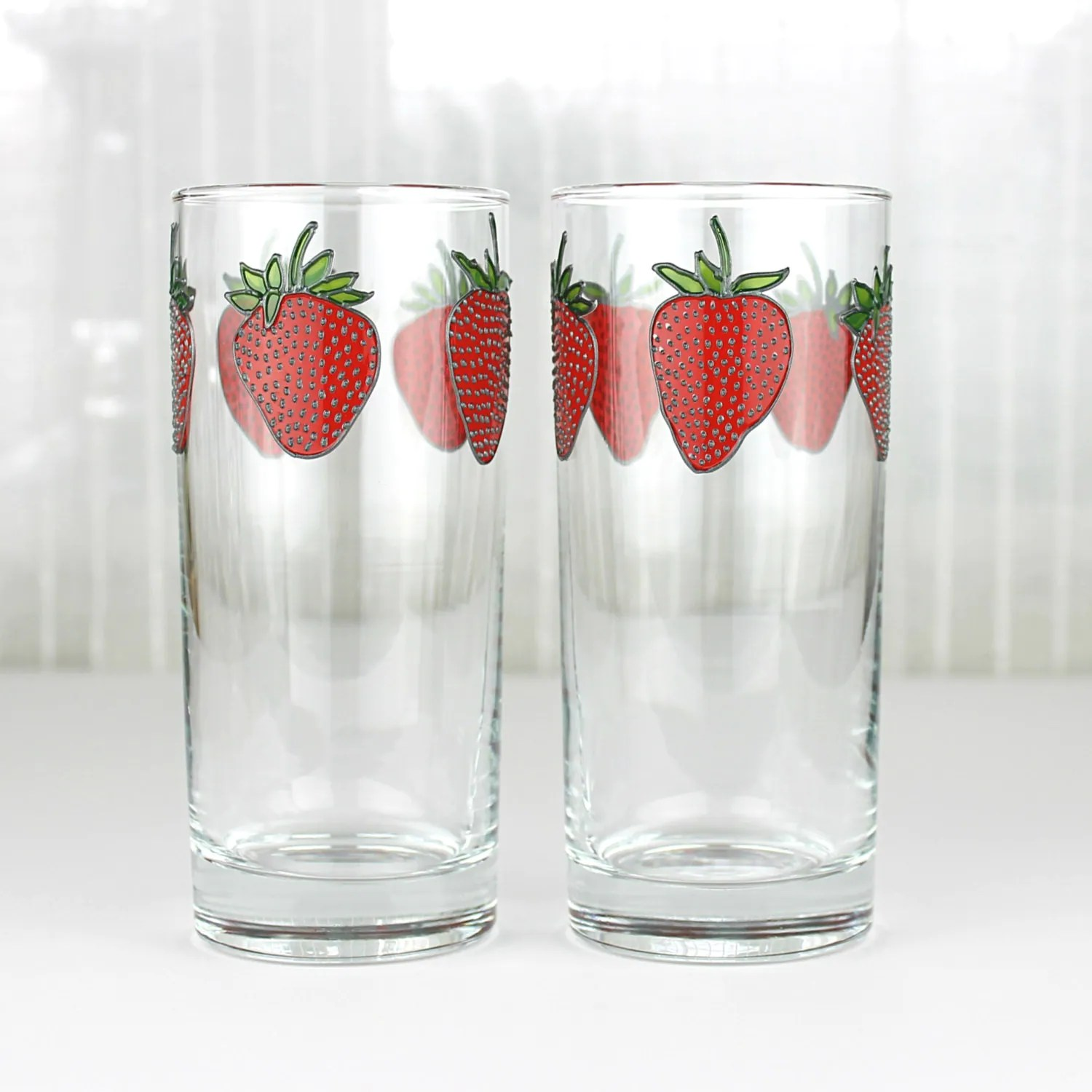 Drinking Glasses Designs Strawberry Drinking Glasses Set Of 2 Hand Painted Crystal